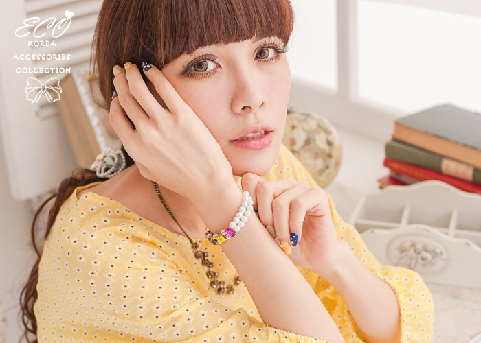 珍珠,雙鍊,寶石,韓國製手鍊,韓國飾品,手環