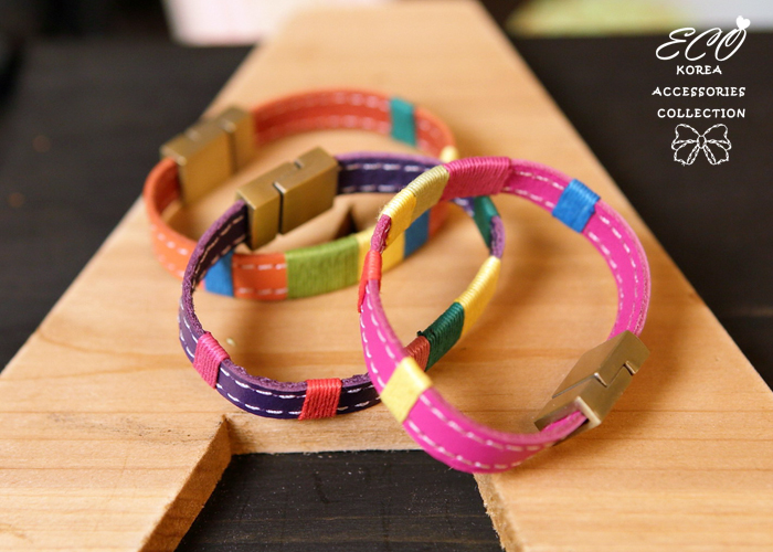 彩色,皮革,韓製,民俗風,磁鐵扣,韓貨,手環