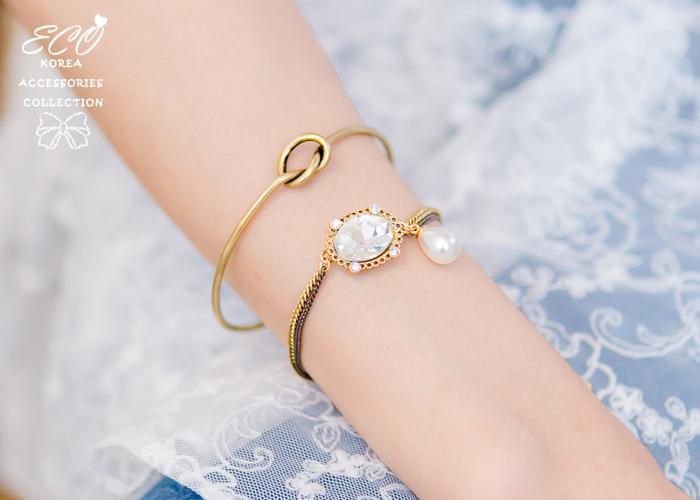 鎖鍊,鑽,珍珠,韓國製手鍊,韓國飾品,手環