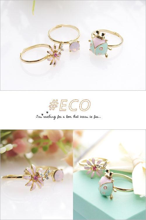 瓢蟲戒指,昆蟲戒指,小花戒指,綴鑽戒指,鑲鑽戒指,三件組,韓國製戒指,韓國飾品,戒指