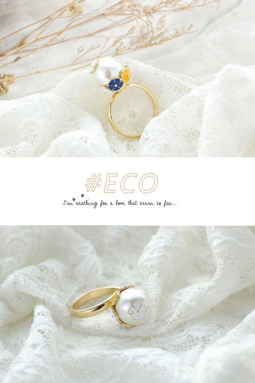 珍珠戒指,釉彩戒指,小花戒指,韓國製戒指,韓國飾品,戒指