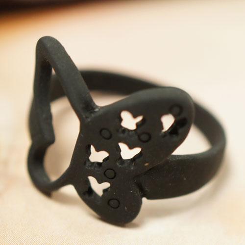 (特賣)●ECO安珂●【E4-225】花間秘密 黑色蝴蝶結 戒指