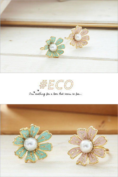 小花戒指,珍珠飾品,小雛菊戒指,氣質設計,釉彩飾品,韓國戒指,韓國飾品