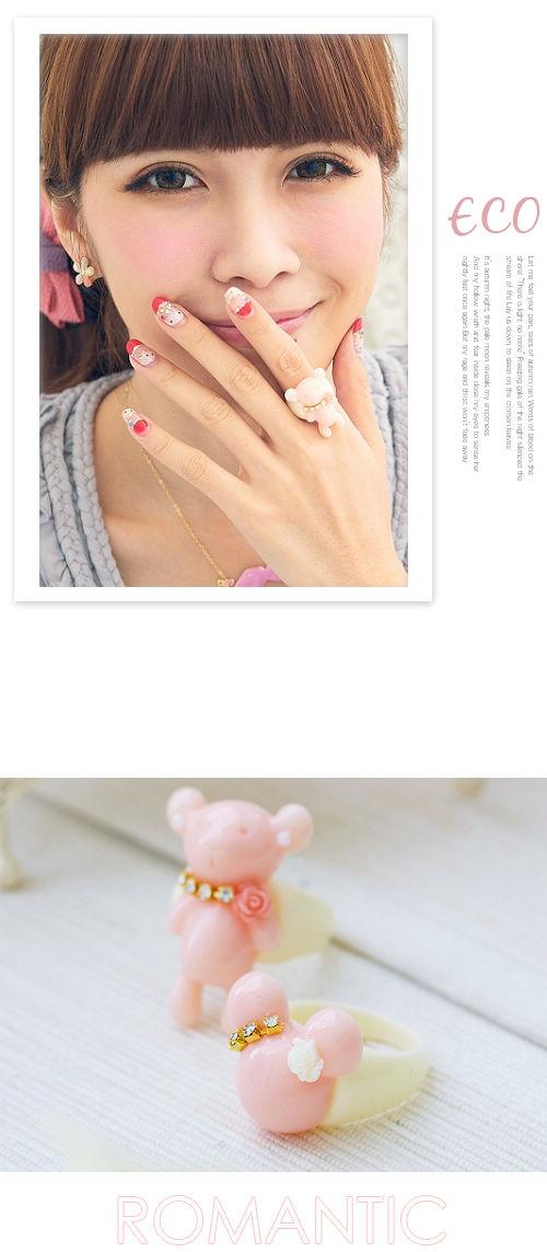 熊熊,米奇,果凍色,立體戒指,韓國製,韓國,韓星,戒指