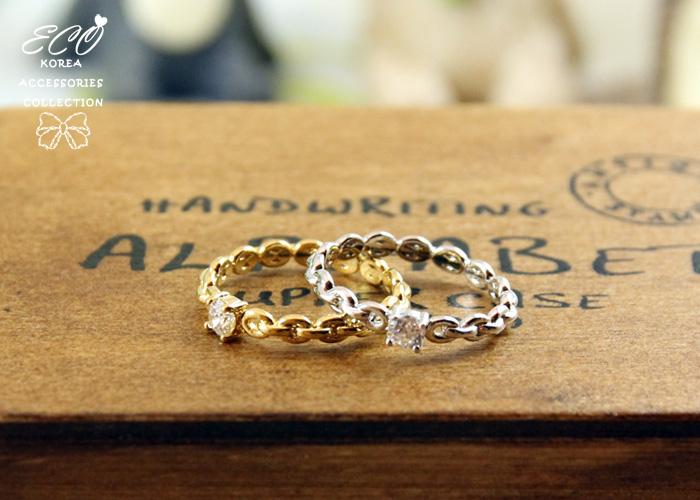 鍊鎖,水鑽,簡約,韓製,韓國,韓貨,戒指