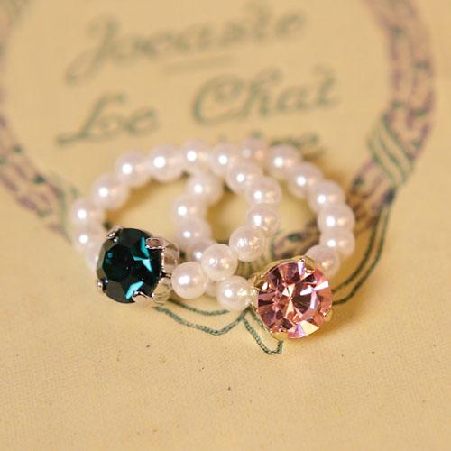 (特賣)ECO安珂.大寶石珍珠彈性甜美戒指/軟戒(2色)【4-349】