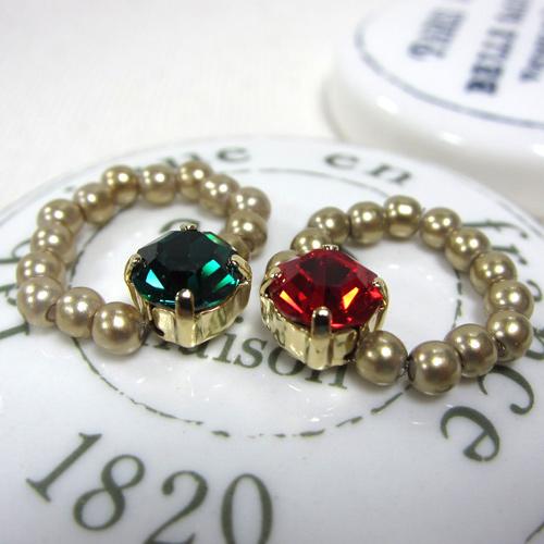 (特賣)ECO安珂.金珠珠戒圍與紅/綠寶石 戒指/軟戒(2色)【4-349】