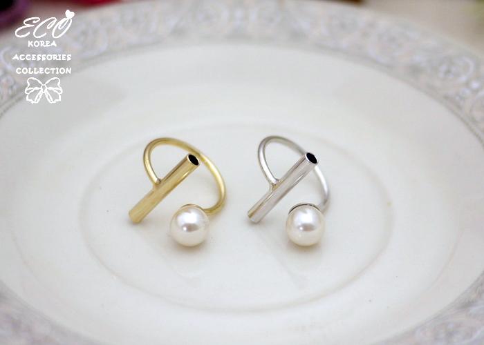 T字型,珍珠,簡約,個性,韓製,韓國,韓貨,戒指