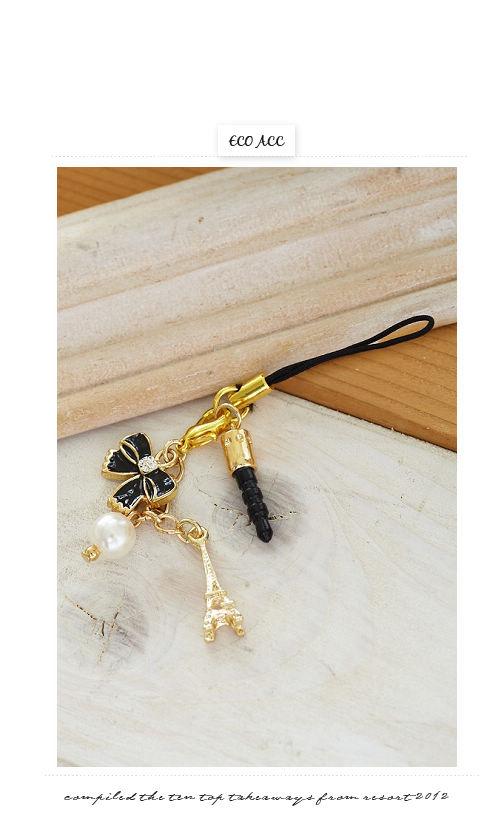 蝴蝶結,鐵塔,珍珠,耳機插,韓國飾品,韓國配件