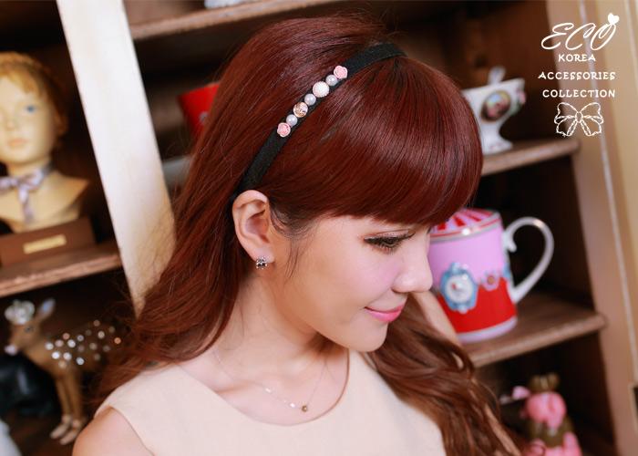 玫瑰,珍珠,髮圈,髮箍,韓國髮飾,韓國髮圈,韓國飾品