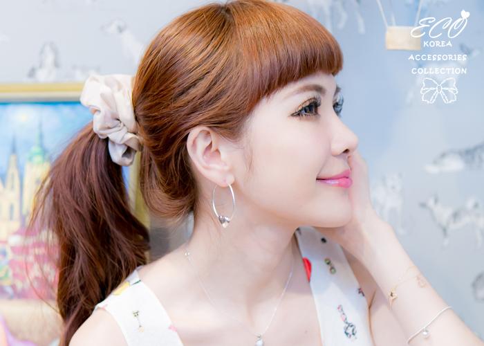 駝色,點點,水玉,粉色,粉紅,大腸圈,髮束,韓國髮飾,韓國髮圈,韓國飾品,髮圈