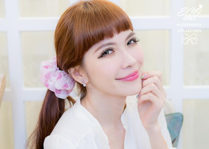 格子,透膚,髮束,大腸圈,韓國髮飾,韓國髮圈,韓國飾品,髮圈