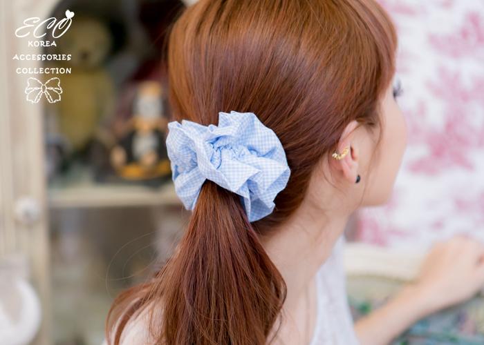 格子,甜美,布料,大腸圈,髮束,韓國髮飾,韓國髮圈,韓國飾品,髮圈