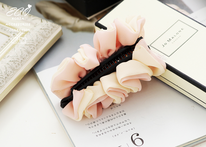 粉嫩,皺褶,花朵,髮夾,香蕉夾,韓國髮飾,韓國髮圈,韓國飾品