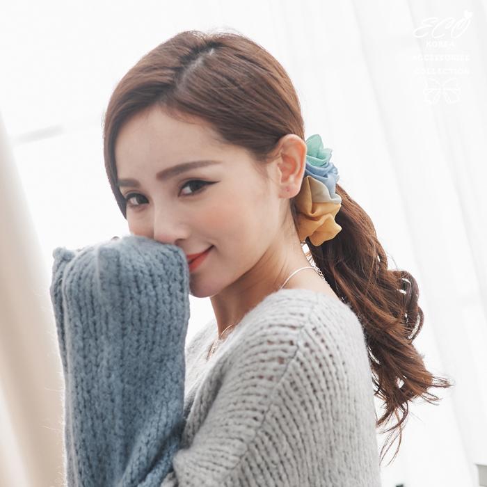 漸層,雪紡,抓皺,香蕉夾,髮夾,韓國髮飾,韓國髮圈,韓國飾品,髮圈