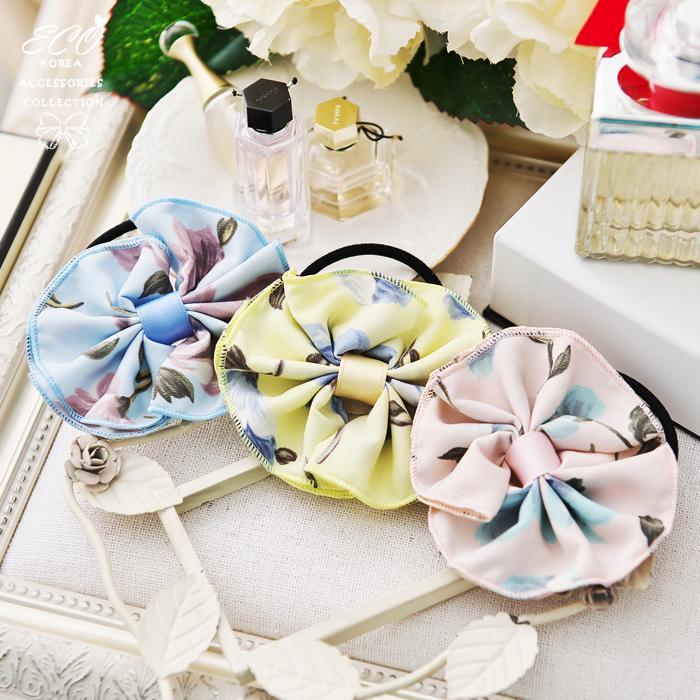 蝴蝶結,水彩,花朵,髮束,韓國髮飾,韓國髮圈,韓國飾品,髮圈