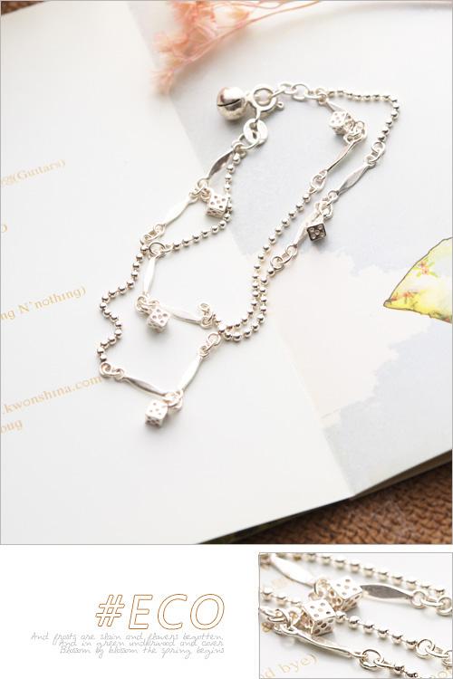 骰子手鍊,雙練手鍊,玲噹手鍊、925純銀,純銀手鍊,925純銀手鍊,純銀飾品,手鍊