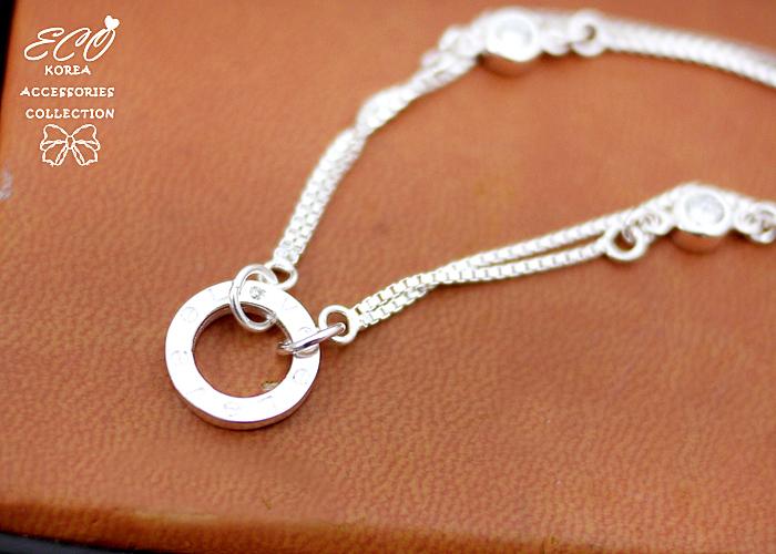 ,鑽,鏤空,雙鍊,love,圓形,925純銀,純銀手鍊,925純銀手鍊,純銀飾品,手鍊
