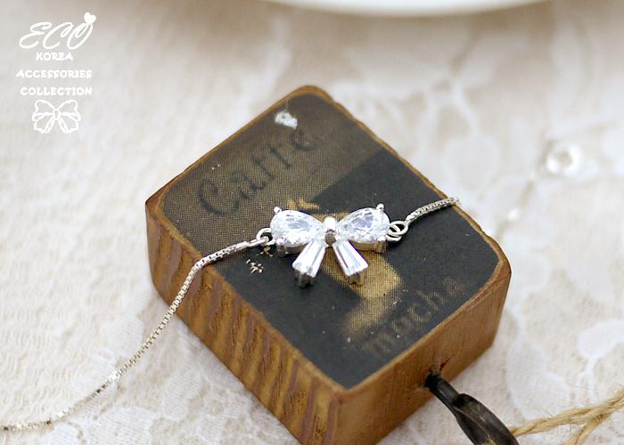 蝴蝶結,晶鑽,925純銀,純銀手鍊,925純銀手鍊,純銀飾品,手鍊