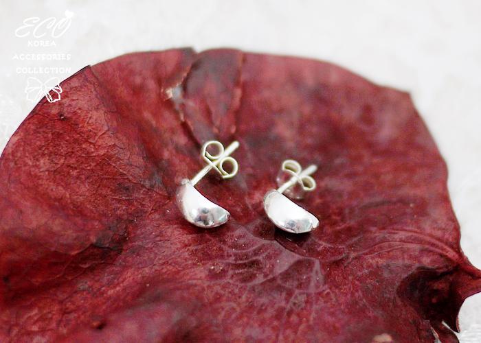 弧形設計,純銀針耳環,925純銀耳環,抗過敏耳環