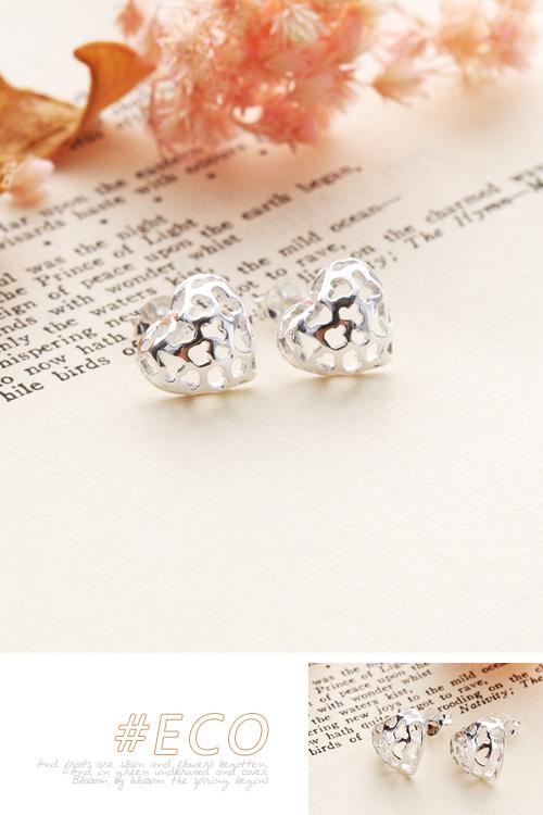 立體愛心耳環,鏤空圖騰耳環,純銀耳環,純銀針耳環,925純銀耳環,抗過敏耳環