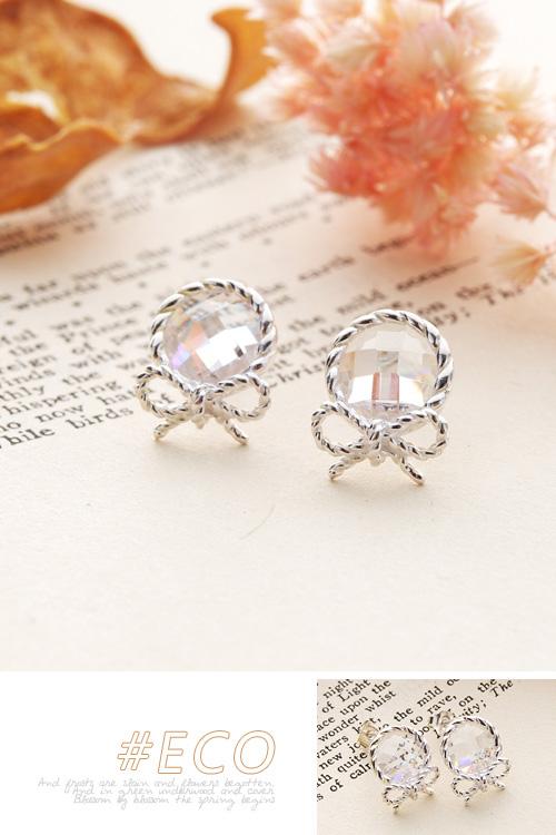 蝴蝶結耳環,寶石耳環,鋯石耳環,純銀耳環,純銀針耳環,925純銀耳環,抗過敏耳環