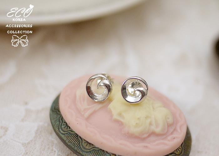 螺旋紋,純銀針耳環,925純銀耳環,抗過敏耳環