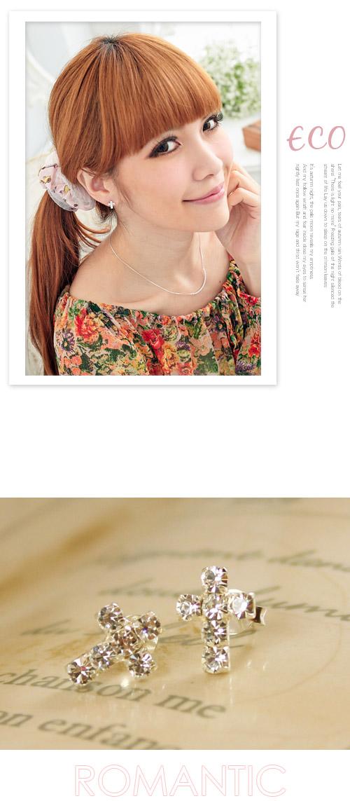 十字架耳環,貼鑽耳環,純銀針耳環,925純銀耳環,抗過敏耳環