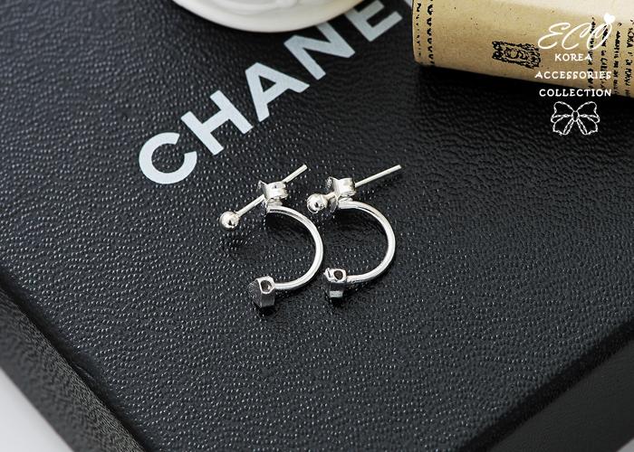 愛心,珠,純銀針耳環,925純銀耳環,抗過敏耳環