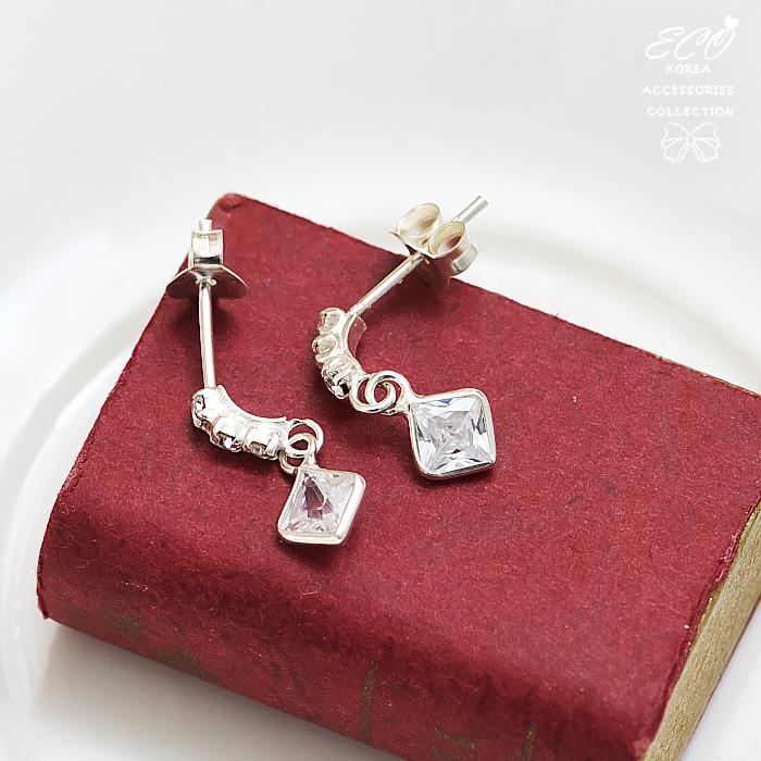方型鑽,鑽,純銀針耳環,925純銀耳環,抗過敏耳環
