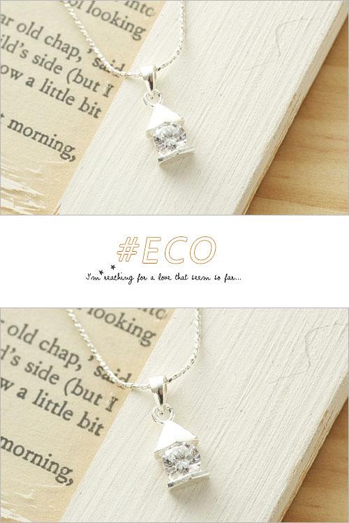 幾何造形,水鑽銀鍊,鎖骨項鍊,925純銀項鍊,純銀飾品
