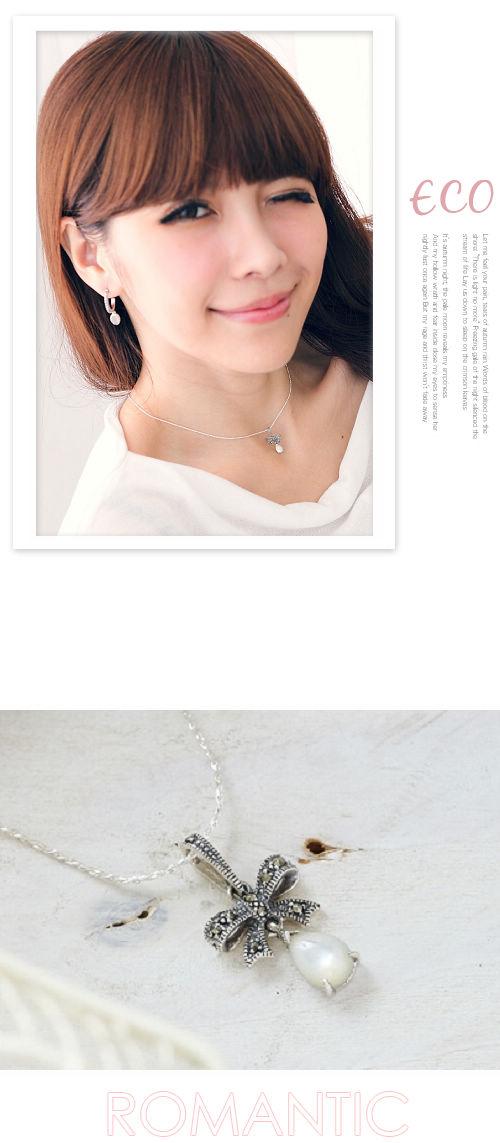 寶石,蝴蝶結,水鑽,鎖骨項鍊,925純銀,純銀,韓國