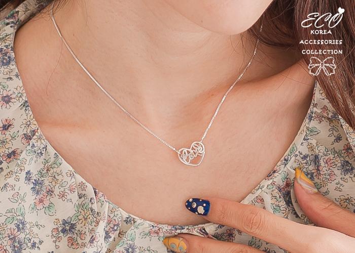 love,愛心項鍊,草寫銀鍊,鎖骨項鍊,925純銀項鍊,純銀飾品