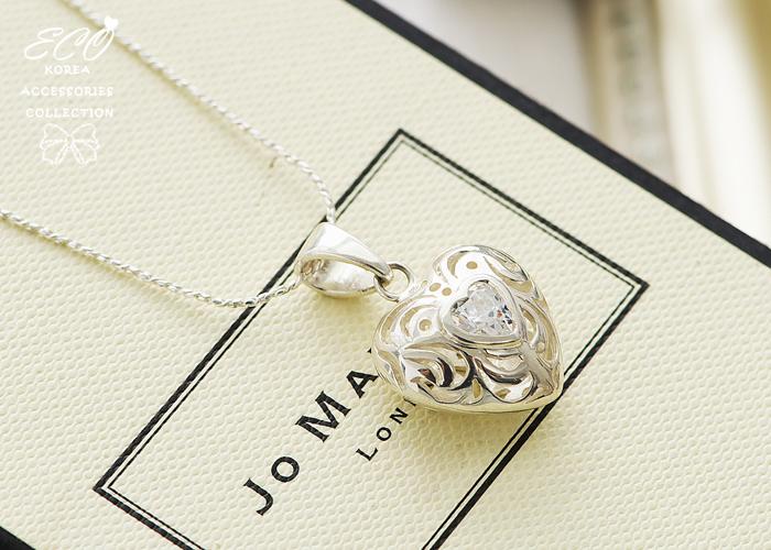 鏤空,愛心,復古,水鑽,925純銀項鍊,純銀飾品,925純銀墜