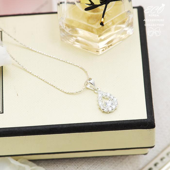 水滴造型,水鑽銀鍊,鎖骨項鍊,925純銀項鍊,純銀飾品