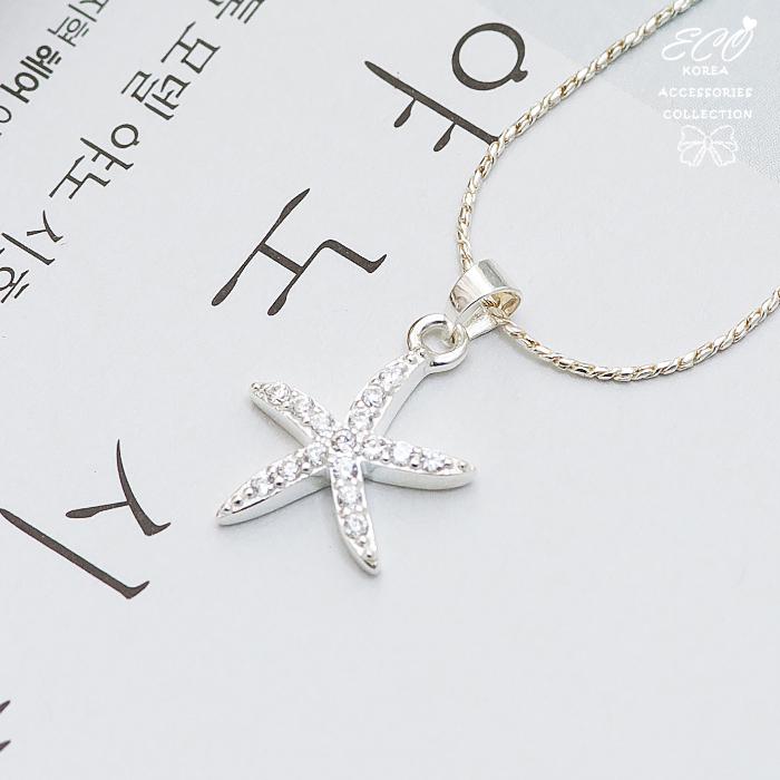 海星,星星,鑽,鋯石,水鑽銀鍊,鎖骨項鍊,925純銀項鍊,純銀飾品