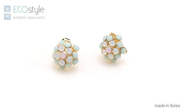 繡球花,蛋白石,耳環,韓國飾品