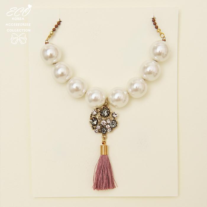 珍珠,鑽,流蘇,民俗,短項鍊,項鍊,韓貨,韓製,項鍊