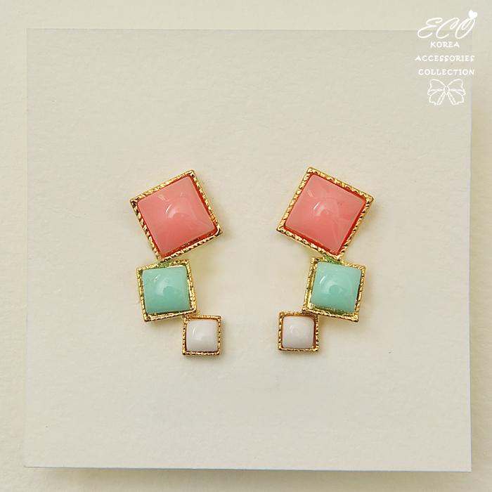 粉嫩,方塊,鑽,可愛鋯石,三顆鑽,韓製,韓國,耳環,夾式耳環,無耳洞耳環