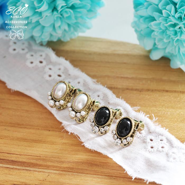復古,典雅,珍珠,華麗,夾式耳環,無耳洞耳環,韓製,韓國,耳環