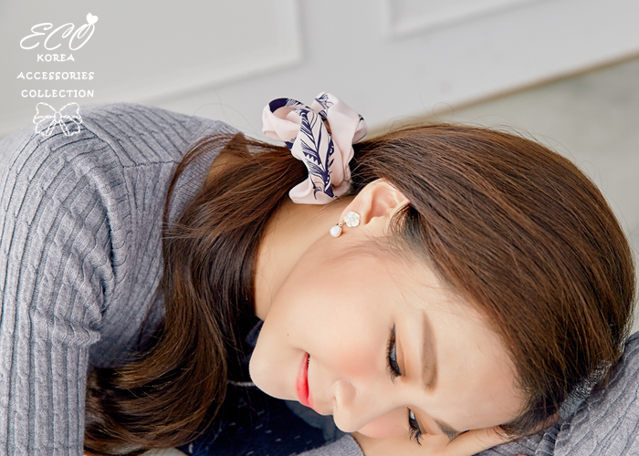 小花,天然珍珠,氣質,夾式耳環,無耳洞耳環,韓製,韓國,耳環