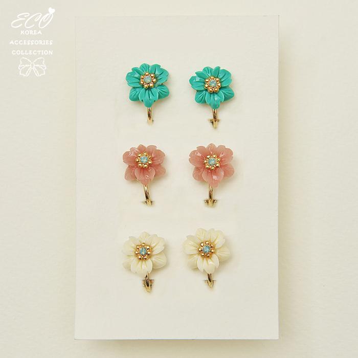 小花,蛋白石,可愛,亮采,花型,無耳洞耳環,耳骨夾,夾式耳環,韓製,韓國,耳環