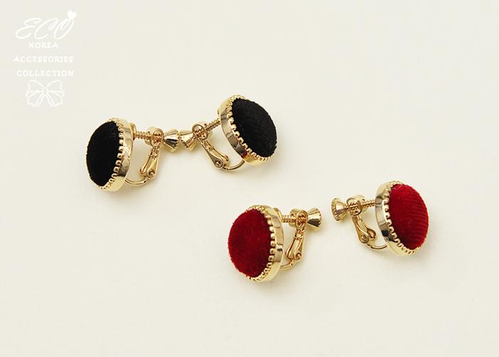 金邊,絨布,圓形,夾式耳環,無耳洞耳環,韓製,韓國,耳環