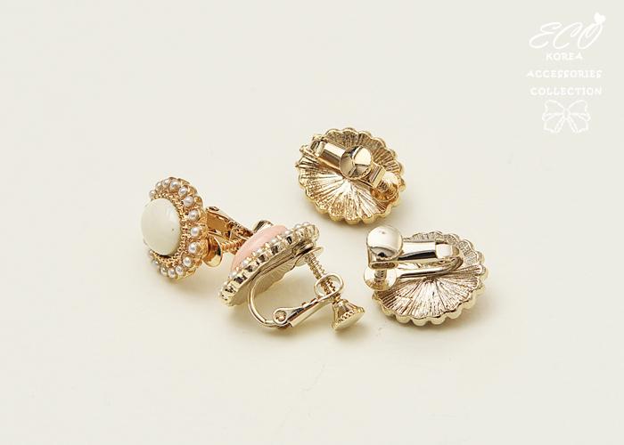 珍珠,花瓣,大方,溫柔,氣質,古典,無耳洞耳環,夾式耳環,韓製,韓國,耳環