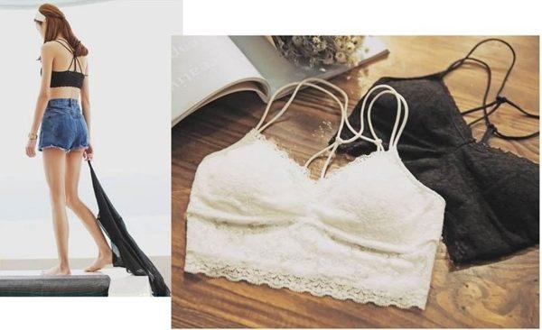 ★草魚妹★H336內衣蕾絲花邊附胸墊打底內搭造型背心帶胸墊內衣比基尼小可愛,售價128元