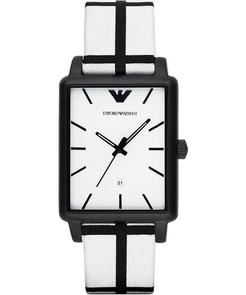EMPORIO ARMANI/AR1856黑白方形時尚腕錶/白面41*33mm