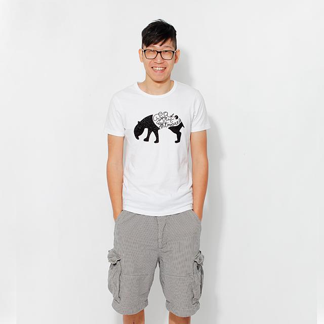 食夢獸 蜜桃棉 男T 短袖  純白