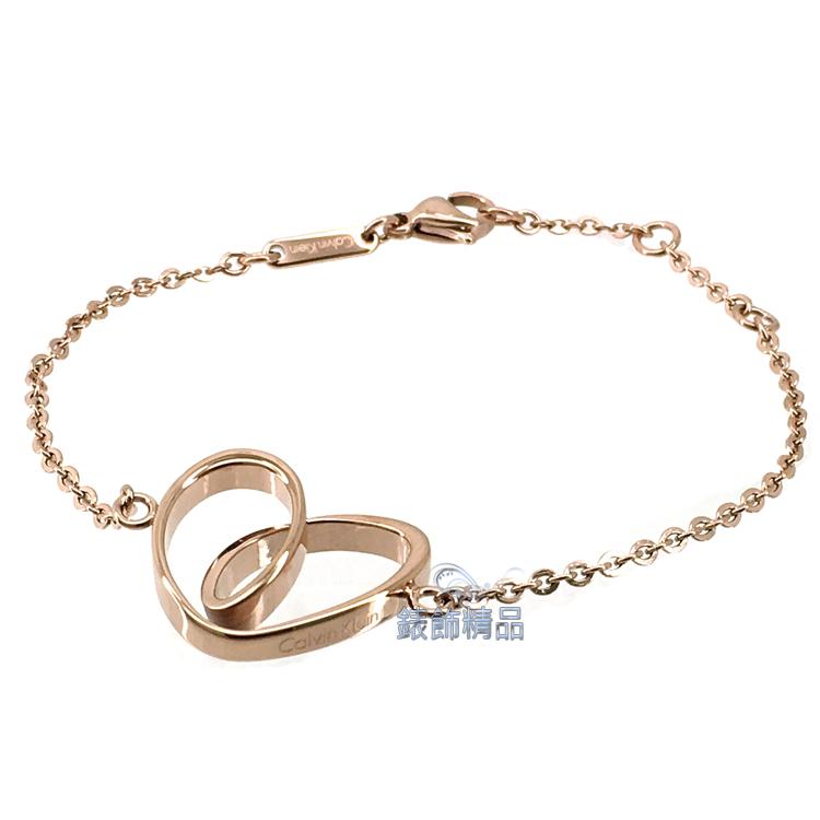 【錶飾精品】CK飾品 ck女性手鍊 316L白鋼 KJ5APB100100-心型玫瑰金 全新原廠正品 生日情人禮物