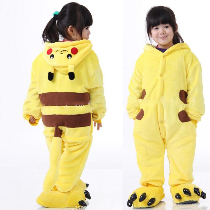 糖衣子輕鬆購【DS177】兒童連身卡通睡衣皮卡丘寶可夢神奇寶貝角色扮演連身睡衣