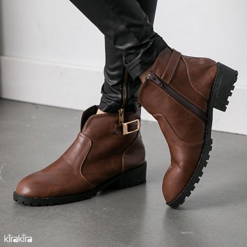 低跟短靴-韓國街頭風前開v口拼接低跟短靴 偏小